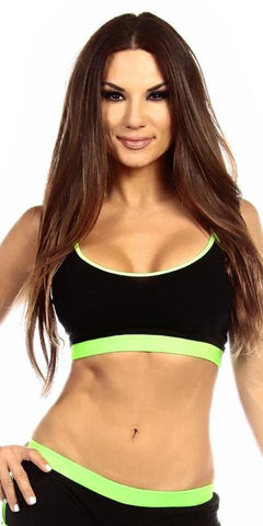 Sexy Neon Trim Fit Principle Athletic Crop Sports Bra Top - Black/Neon Green - FitByM.com