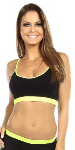 Sexy Neon Trim Fit Principle Athletic Crop Sports Bra Top - Black/Neon Yellow - FitByM.com
