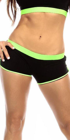 Sexy Neon Trim Fit Super Set Low Rise Athletic Gym Shorts - Black/Neon Green - FitByM.com