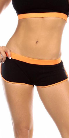 Sexy Neon Trim Fit Super Set Low Rise Athletic Gym Shorts - Black/Neon Orange - FitByM.com