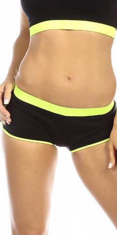 Sexy Neon Trim Fit Super Set Low Rise Athletic Gym Shorts - Black/Neon Yellow - FitByM.com