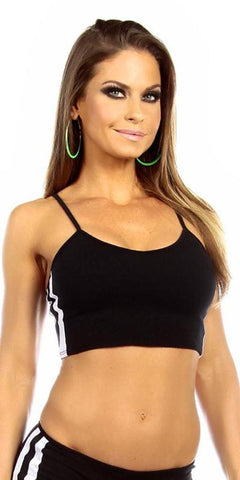 Sexy Neon Trim Warm Up Triple Stripe Work Out Fitness Crop Top - Black/White - FitByM.com