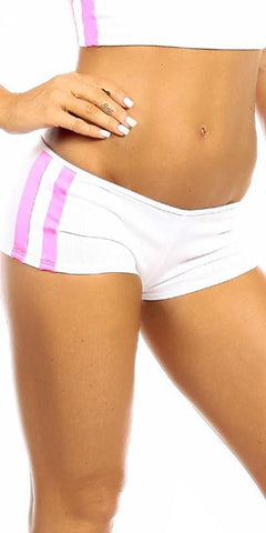 Sexy Neon Trim Balance Work Out Triple Stripe Fitness Full Coverage Shorts - White/Hot Pink - FitByM.com
