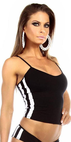 Sexy Neon Trim Balance Work Out Triple Stripe Fitness Full Coverage Top - Black/White - FitByM.com