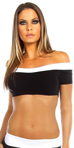 Sexy Off The Shoulder Namaste Yoga Work Out Gym Top - Black/White Small / Black/White,  - Musotica, Fit by M - Shop Sexy Fitness Girl Clothing, Sexy Athletic Gym Clothing, Sexy Bodybuilding Girl Apparel  - 1
