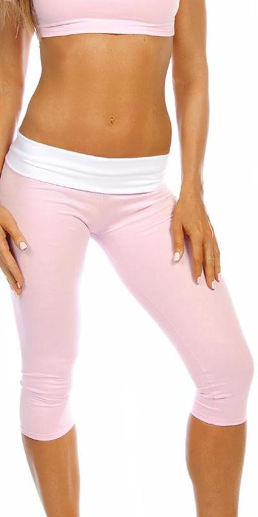 Sexy Roll Down Sport Band Stretch To Fit Shred Capri Yoga Leggings - Baby Pink/White - FitByM.com