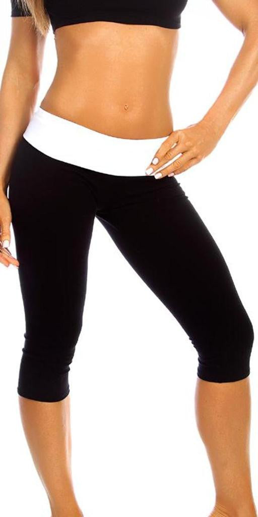 Sexy Roll Down Sport Band Stretch To Fit Shred Capri Yoga Leggings - Black/White - FitByM.com