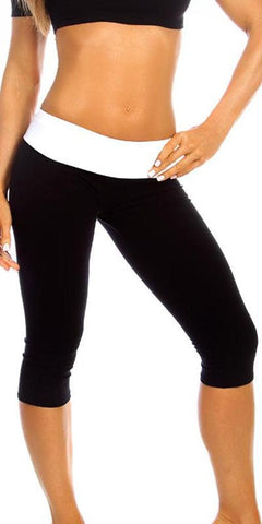 Sexy Roll Down Sport Band Stretch To Fit Shred Capri Yoga Leggings - Black/White Small / Black/White,  - Musotica, Fit by M - Shop Sexy Fitness Girl Clothing, Sexy Athletic Gym Clothing, Sexy Bodybuilding Girl Apparel  - 1