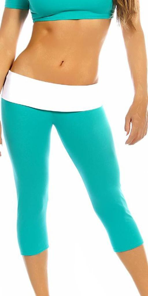 Sexy Roll Down Sport Band Stretch To Fit Shred Capri Yoga Leggings - Teal/White - FitByM.com