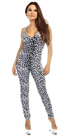 Sexy Shred Stretch Supportive Cut Out Back Work Out Cat Suit - Snow Leopard Small / Snow Leopard,  - Musotica, Fit by M - Shop Sexy Fitness Girl Clothing, Sexy Athletic Gym Clothing, Sexy Bodybuilding Girl Apparel  - 1