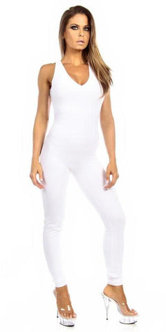 Sexy Shred Stretch Supportive Cut Out Back Work Out Cat Suit - White - FitByM.com