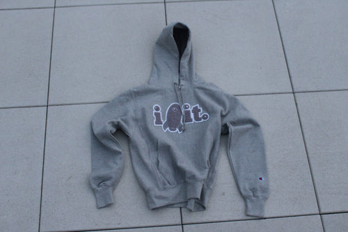GREY IROCKIT Hoodie w GREY Chenille patch by Champion