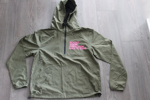Military green Windbreaker w Hoodie