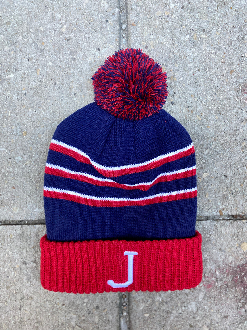 J Beanie w ball (Blue/Red)