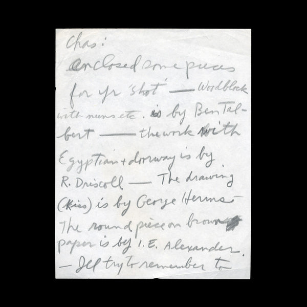 BERMAN, Wallace. Autograph letter, signed 'W' to Charles Plymell. [c.1965].