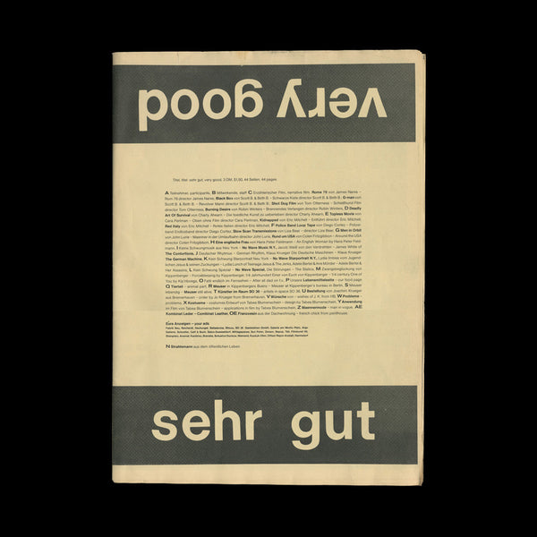 KIPPENBERGER, Martin. Sehr Gut / Very Good. [Berlin]: [self-published], [1979].