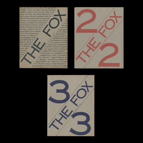 KOSUTH, Joseph; RAMSDEN, Mel. CHARLESWORTH, Sarah. et al. The Fox. Volume One, Numbers 1-3 [all published]. New York: Art & Language Foundation, inc., 1975-1976.