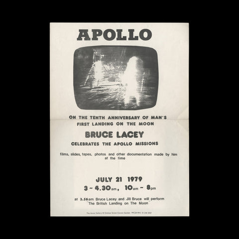 LACEY, Bruce. Apollo. On the tenth anniversary of man's first landing on the moon Bruce Lacey celebrates the Apollo missions. London: The Acme Gallery, 1979.