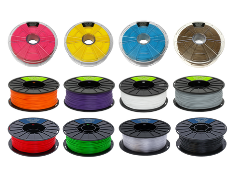 Mixed Pack of PLA, PET and Low Warp ABS - 12 spools