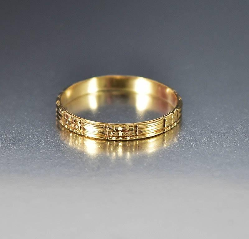 Vintage Art Deco 10K Gold Mens Wedding Band Ring Unisex - Boylerpf - 1