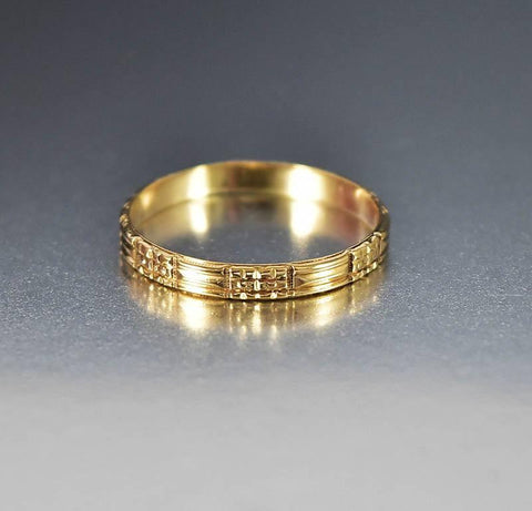 Vintage Art Deco 10K Gold Mens Wedding Band Ring Unisex