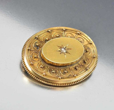 Victorian 14K Gold Diamond Locket Brooch Pendant