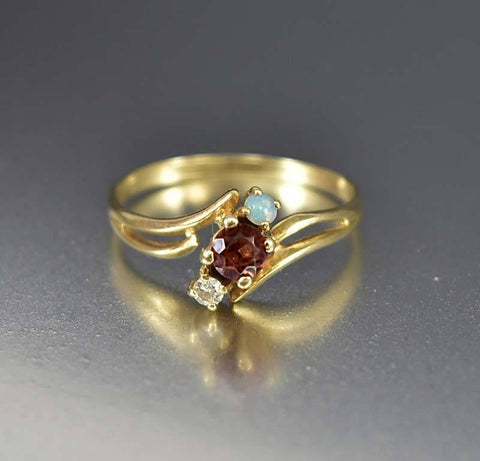 14K Gold Opal and Garnet Diamond Ring