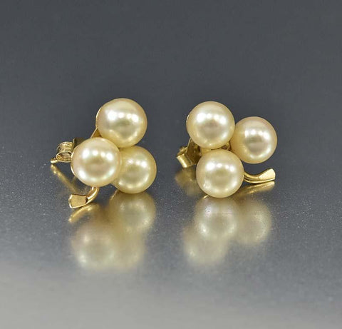 Vintage 14K Gold Akoya Pearl Clover Earring Studs