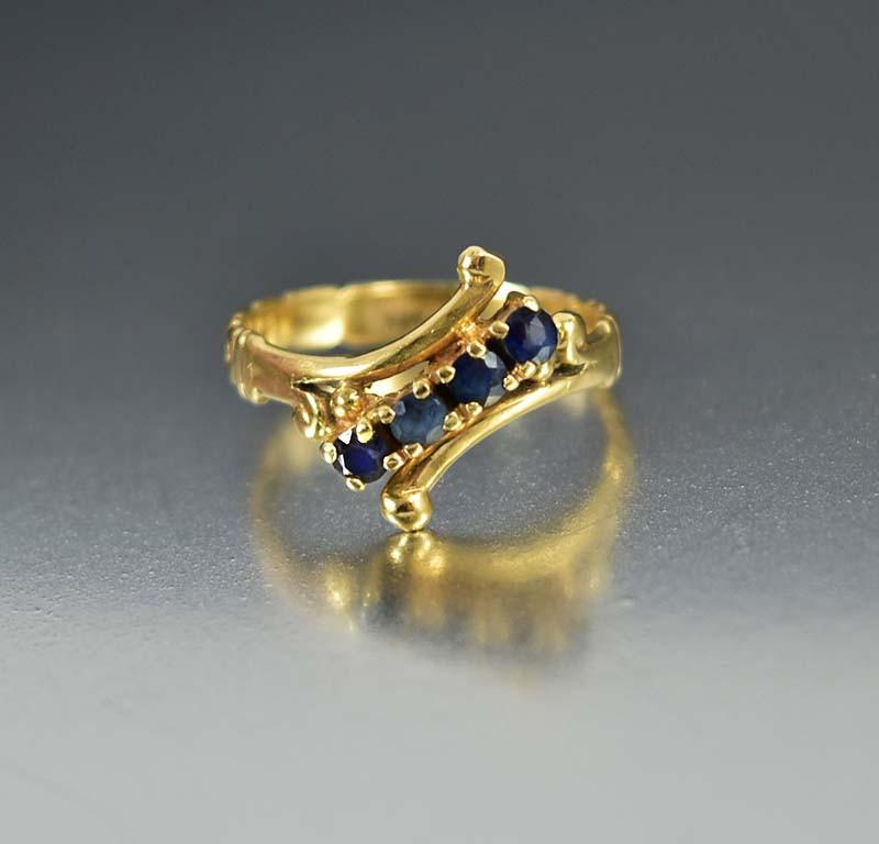 Antique 14K Gold Edwardian Sapphire Engagement Ring - Boylerpf