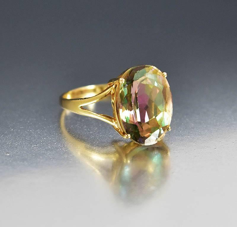 Vintage 14K Gold Mystic Topaz Cocktail Ring - Boylerpf - 1