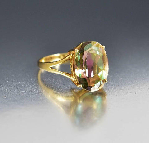 Vintage 14K Gold Mystic Topaz Cocktail Ring