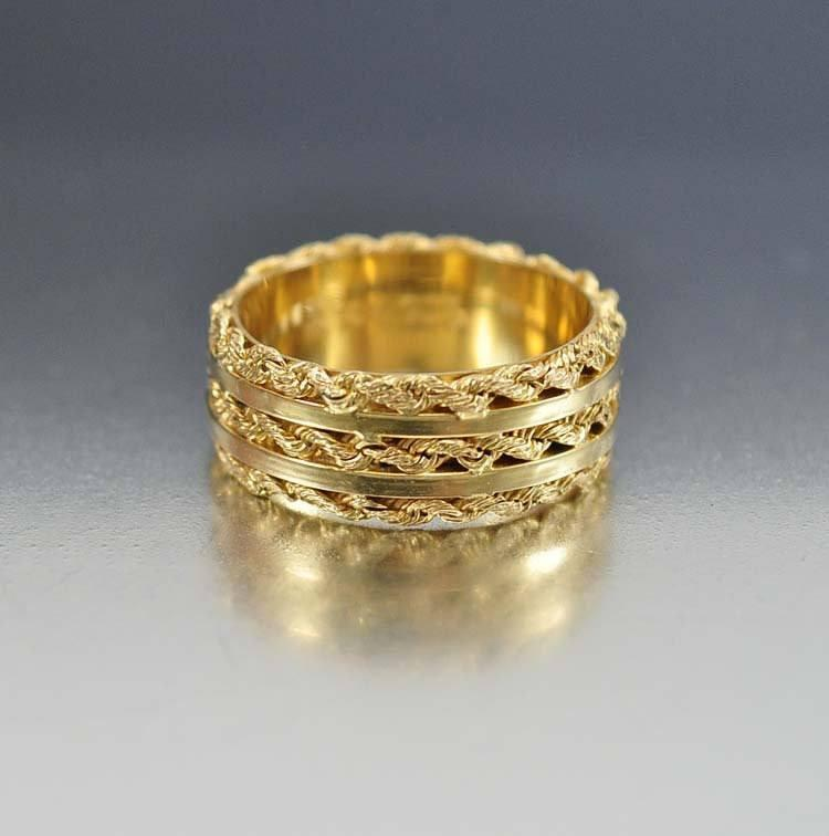 14K Gold Sterling Art Deco Wedding Band Ring - Boylerpf