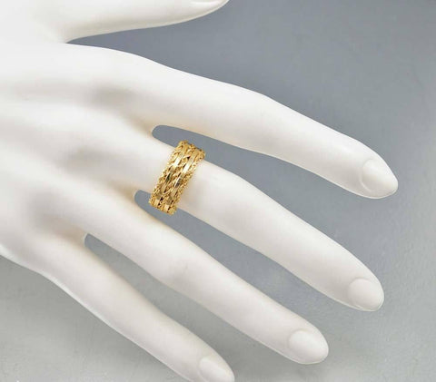 14K Gold Sterling Art Deco Wedding Band Ring