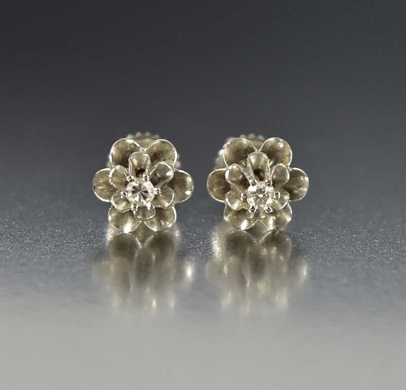 Antique 14K White Gold Diamond Stud Earrings - Boylerpf