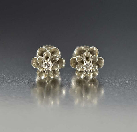 Antique 14K White Gold Diamond Stud Earrings