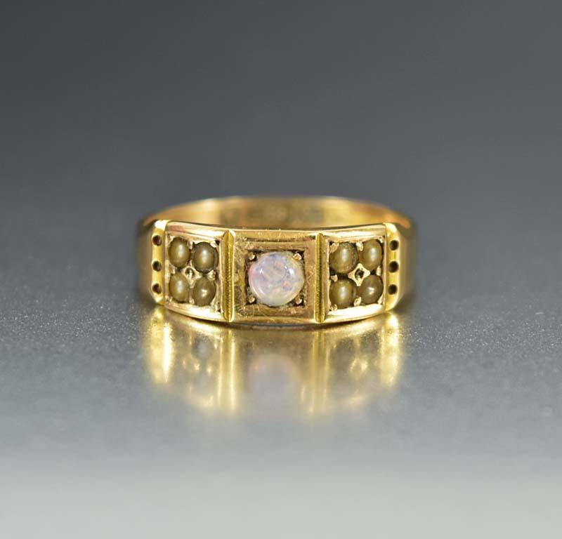 English Opal and Pearl Gold Antique Wedding Band - Boylerpf