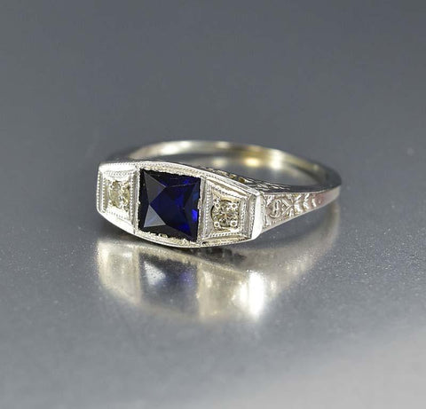Art Deco 18K White Gold Diamond Sapphire Ring