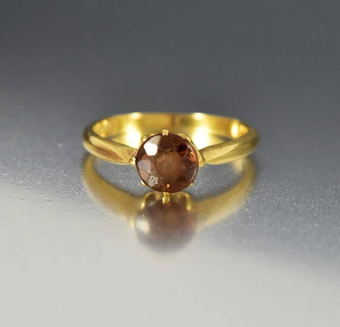 Antique 18K Gold Yellow Topaz Victorian Ring