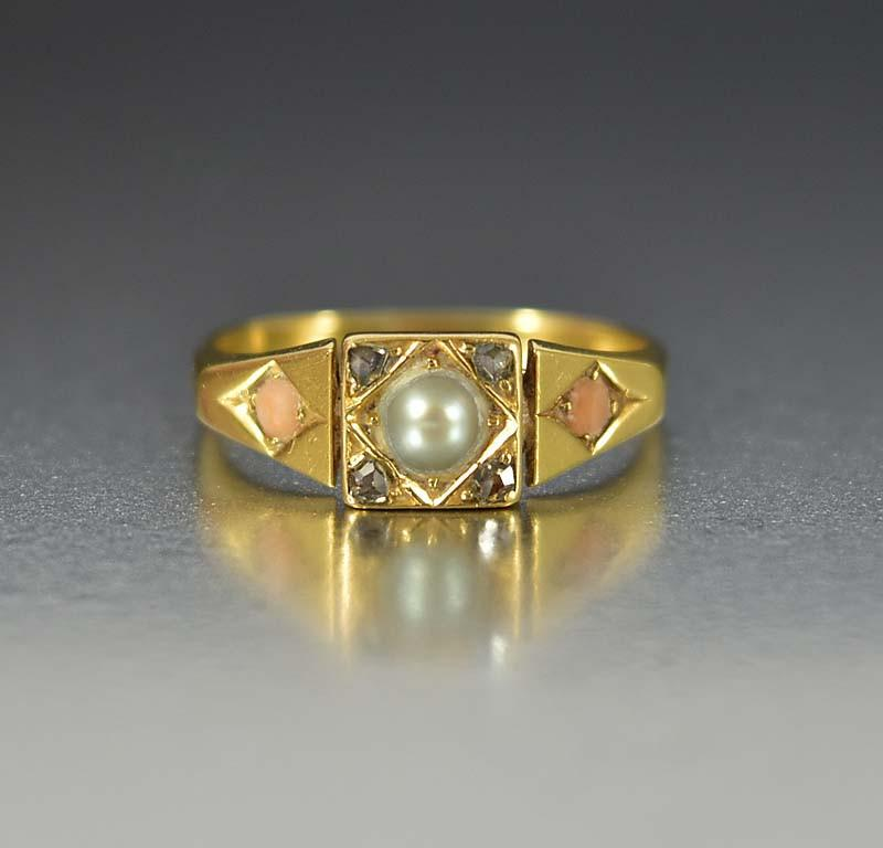 Edwardian Coral Pearl and Diamond 18K Gold Ring Boylerpf