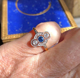 14K Gold Diamond Sapphire Engagement Ring 1900s - Boylerpf