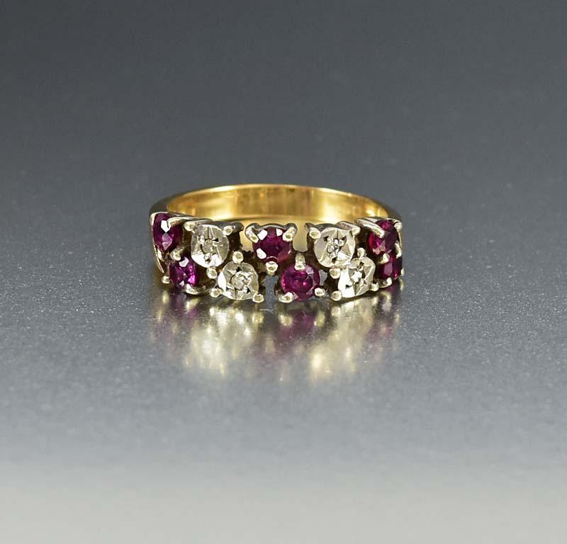 Vintage English Diamond and Ruby Band Ring - Boylerpf