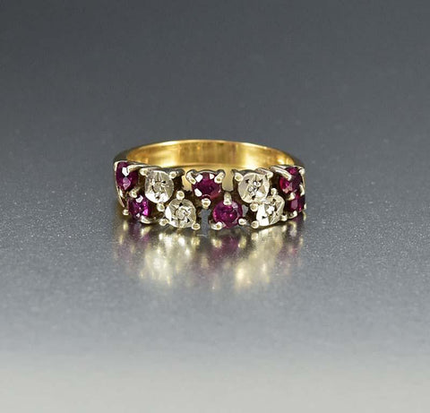 Vintage English Diamond and Ruby Band Ring