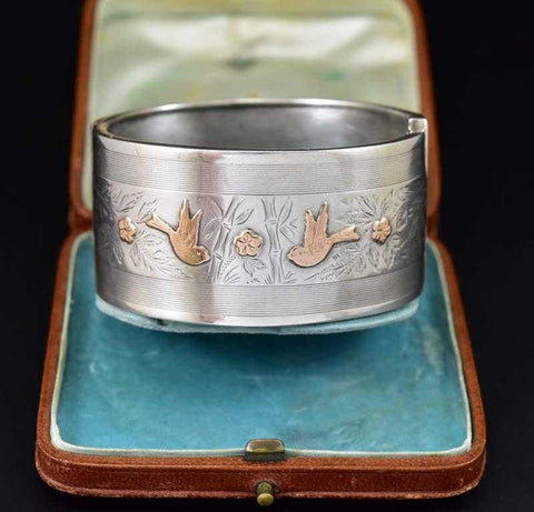 Engraved Rose Gold Swallow Bird Silver Cuff Bracelet