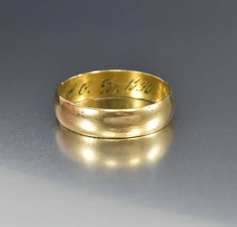 Edwardian Gold Filled Wedding Band Ring Engraved & Dated