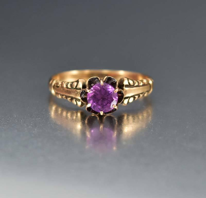 Antique 14K Gold Alexandrite Ring Color Change Sapphire - Boylerpf