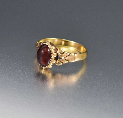 Victorian 10K Yellow Gold Antique Amber Quartz Solitaire Ring