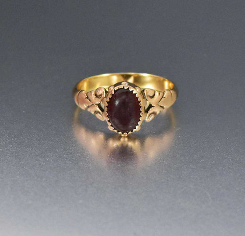 Antique Edwardian Bohemian Garnet Halo Ring