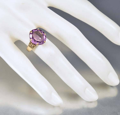 Amethyst Rose Gold Antique Victorian Engagement Ring