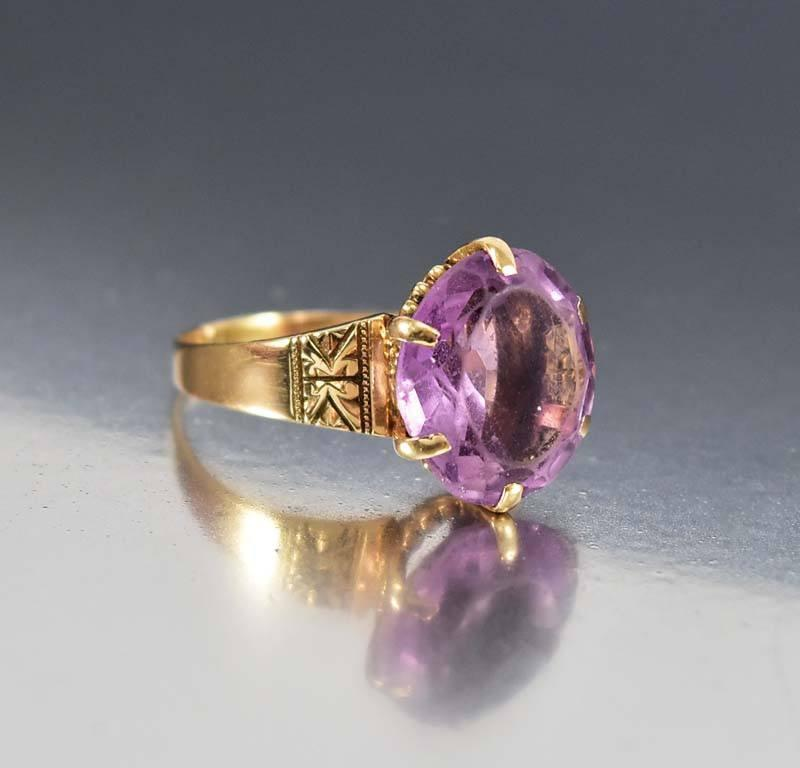 Amethyst Rose Gold Antique Victorian Engagement Ring - Boylerpf