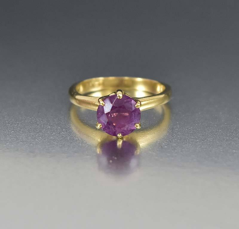 Antique Amethyst Solitaire Edwardian Engagement Ring - Boylerpf